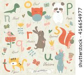 zoo alphabet with cute animals... | Shutterstock .eps vector #416654977
