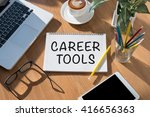 career tools open book on table ... | Shutterstock . vector #416656363
