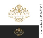 royal place luxury hotel logo... | Shutterstock .eps vector #416667913