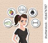 healthy lifestyle design ... | Shutterstock .eps vector #416676787