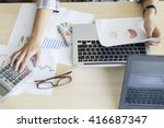 woman working with calculator ... | Shutterstock . vector #416687347