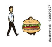 burger man . before and after   ... | Shutterstock .eps vector #416690827