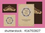 wedding printing in vintage... | Shutterstock .eps vector #416702827