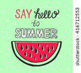 vector bright summer card.... | Shutterstock .eps vector #416712553