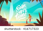 man and dog on beach. summer... | Shutterstock .eps vector #416717323