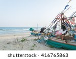 the boat fishing on the beach | Shutterstock . vector #416765863