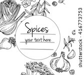 herbs. spices. herb drawn black ... | Shutterstock .eps vector #416773753
