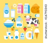 milk and dairy products icons... | Shutterstock .eps vector #416793343