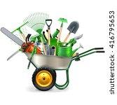 vector wheelbarrow with garden... | Shutterstock .eps vector #416795653