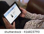 an old man is shopping online a ... | Shutterstock . vector #416823793