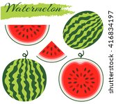 set of fresh ripe watermelon.... | Shutterstock .eps vector #416834197