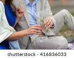 man and woman with glasses of... | Shutterstock . vector #416836033