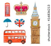 england travel watercolor set | Shutterstock . vector #416836213