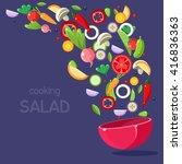 salad ingredients flying into...   Shutterstock .eps vector #416836363