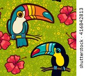 toucan and hibiscus. tropical... | Shutterstock .eps vector #416842813
