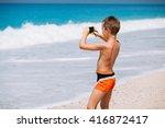 beach vacation dream. handsome... | Shutterstock . vector #416872417