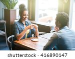 pretty two lovers are dating in ... | Shutterstock . vector #416890147