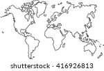 freehand world map sketch on... | Shutterstock .eps vector #416926813