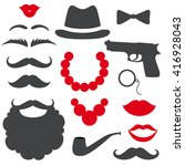 mafia photo booth props set.... | Shutterstock .eps vector #416928043
