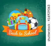 school supplies and greeting... | Shutterstock .eps vector #416929363