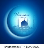 vector moon and mosque... | Shutterstock .eps vector #416939023