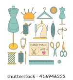 vector sewing icons arranged in ... | Shutterstock .eps vector #416946223
