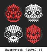 abstract monster skulls sign... | Shutterstock .eps vector #416967463