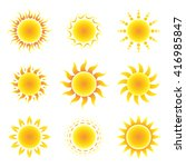 sun symbol set on a white... | Shutterstock .eps vector #416985847