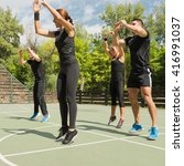 Small photo of Aerobics, group of people in vigorous exercise