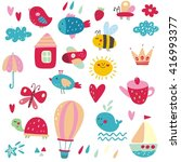 cute vector set for kids | Shutterstock .eps vector #416993377
