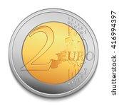two euro coin vector...   Shutterstock .eps vector #416994397