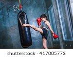 sexy asia girl punching boxing... | Shutterstock . vector #417005773