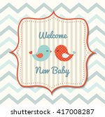 colorful baby shower with cute... | Shutterstock .eps vector #417008287
