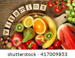 vitamins in fruits and... | Shutterstock . vector #417009853