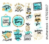 set of hand drawn watercolor... | Shutterstock .eps vector #417023017