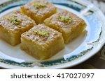basbousa   an arabic sweet made ... | Shutterstock . vector #417027097