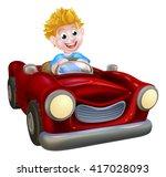 a cartoon boy having fun... | Shutterstock . vector #417028093