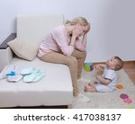 woman sits with her child ... | Shutterstock . vector #417038137