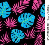blue and pink tropical leaves... | Shutterstock .eps vector #417042583