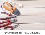 set of electrical tool on... | Shutterstock . vector #417053263