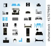 home furniture icons set ... | Shutterstock .eps vector #417079843