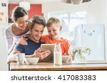 dad  mom and their eight year... | Shutterstock . vector #417083383