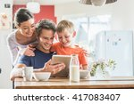 dad  mom and their eight year... | Shutterstock . vector #417083407