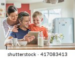 dad  mom and their eight year... | Shutterstock . vector #417083413
