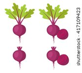 Set Of Beet   Beet With Leaves...