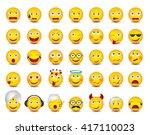 emoticons. big set on white...   Shutterstock .eps vector #417110023