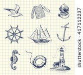drawing set of vector icons on... | Shutterstock .eps vector #417112237