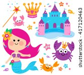 cute mermaid fish and castle... | Shutterstock .eps vector #417120463