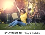 excited girl at the park | Shutterstock . vector #417146683