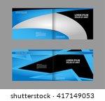 vector empty bi fold brochure... | Shutterstock .eps vector #417149053